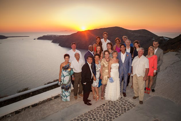 The newlyweds with their family and friends   Wedding ceremony at sunset  Wedding moments   Dasha and Steve's Real Wedding In Greece   Marryme in Greece   Confetti.co.uk