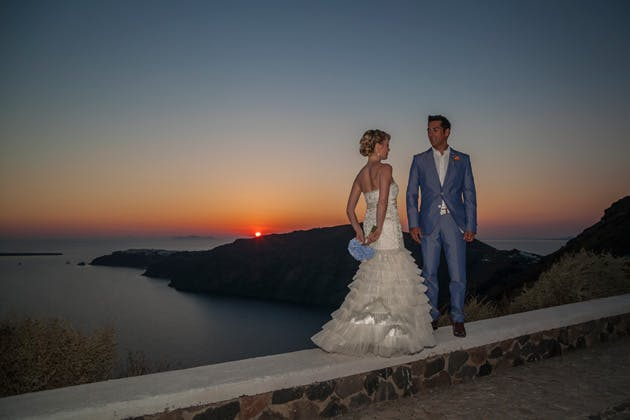 The bride and groom by the ocean at sunset   Wedding portfolio by Creative Shotz   Dasha and Steve's Real Wedding In Greece   Marryme in Greece   Confetti.co.uk