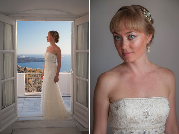 Wedding dress by designer Sue Wong   bride in a strapless, ivory, frilled wedding dress  Dasha and Steve's Real Wedding In Greece   Marryme in Greece   Confetti.co.uk