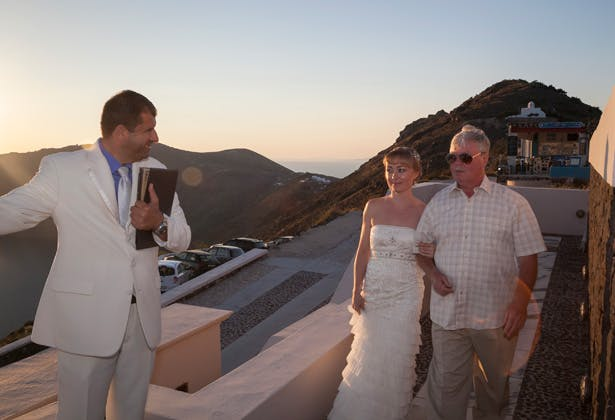 Bride in her strapless Sue Wong dress with her father  Dasha and Steve's Real Wedding In Greece   Marryme in Greece   Confetti.co.uk