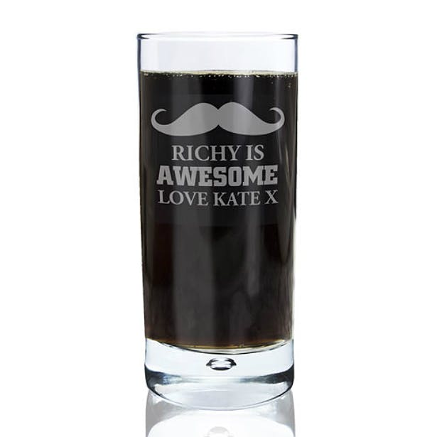 Personalised moustache high ball glass | Confetti.co.uk