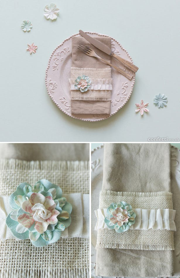 Shabby Chic wedding table place setting | Confetti.co.uk