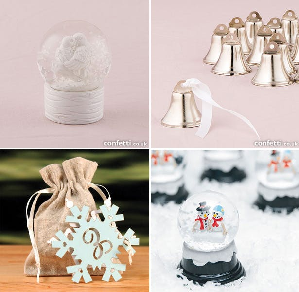 Snow globe mini wedding favours | Mini Bells | Snowflake tags| Christmas present| First Christmas as Mr and Mrs | Confetti.co.uk