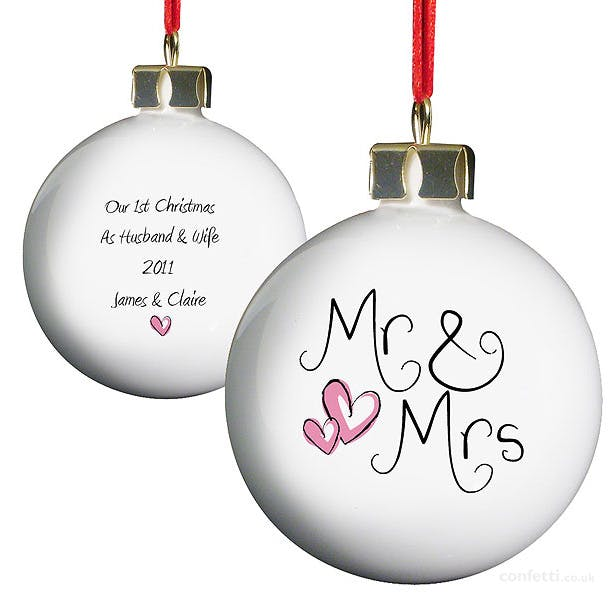 Personalised Mr and Mrs Bauble| First Christmas as Mr and Mrs | Confetti.co.uk