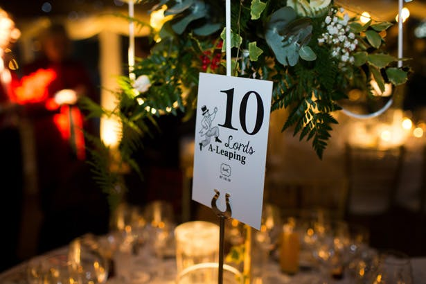 Christmas themed wedding table numbers | Abigail and Chris's Real Christmas Wedding | Confetti.co.uk