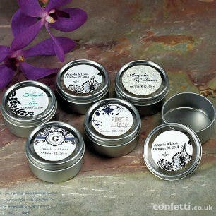 Round tins with personalised stickers | Confetti.co.uk
