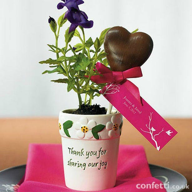 Chocolate heart lolly in a flower pot favour | Confetti.co.uk