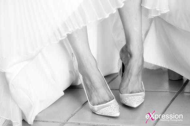 Bridal diamanté wedding shoes from Bourne Collection | Debora and James's real destination wedding | Confetti.co.uk
