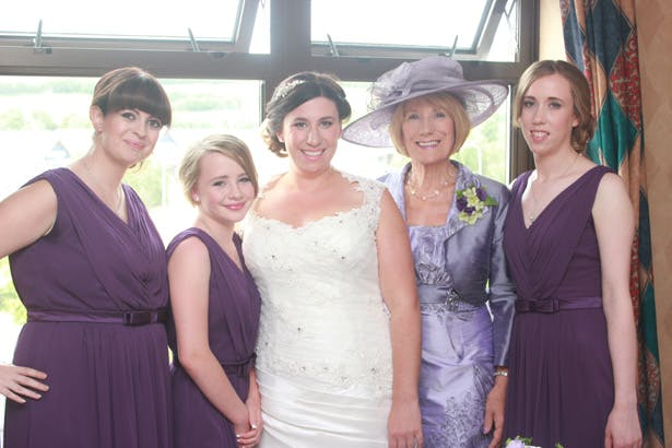 Bride with her 3 bridesmaids and mother | Bridal party in purple | Purple themed wedding| Rhiannon & Michael's Real Wedding | Confetti.co.uk