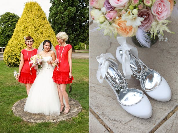The bride in her Pronovias dress, with her bridesmaids in red flapper style dresses | Shasha and James real wedding | 1920's Great Gatsby Wedding Confetti.co.uk
