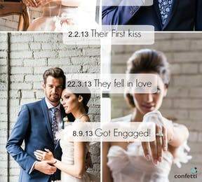 Announce your engagement with a lovely timeline of your love! From Confetti.co.uk