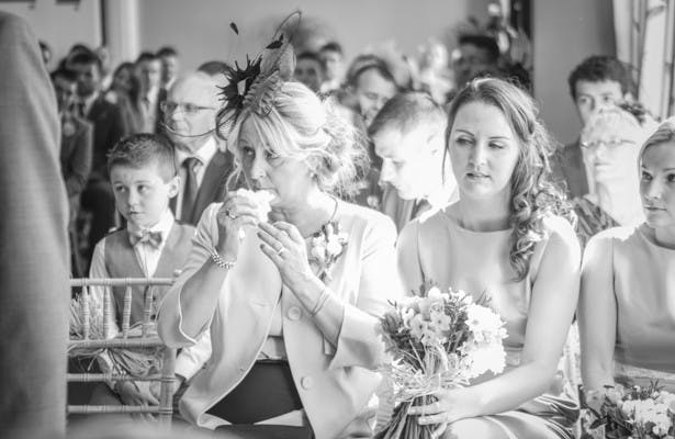 Emotional wedding guests  | Wedding ceremony at the Deer Park country house | Nadine and Roberts Real Wedding | Confetti.co.uk