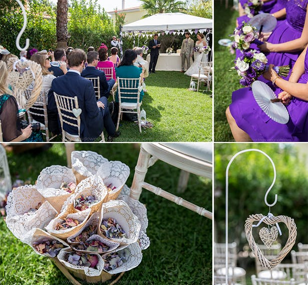 Bridesmaids in purple dresses | Purple confetti | Wedding ceremoyn at Monte Da Quinta resort in Almancil, Portugal | Marina and Gary's lavender real wedding | Yes I do! Algarve Wedding Photography | Confetti.fo.uk