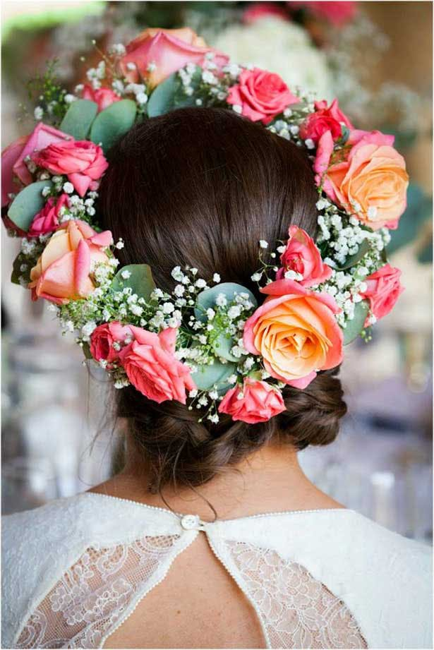Boho wedding hair style   Rose floral crown wreath   Lauren and David's real wedding   Confetti.co.uk