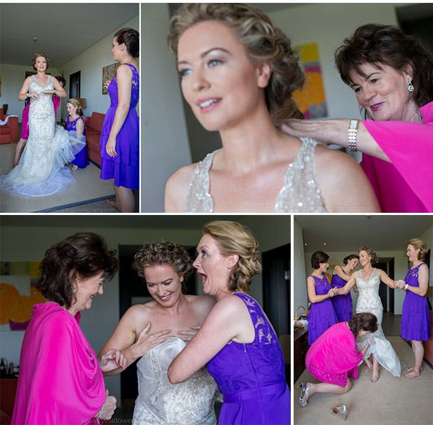 Bridesmaids helping the bride get ready for her big day | Marina and Gary's lavender real wedding | Yes I do! Algarve Wedding Photography | Confetti.fo.uk