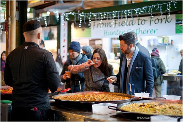 Kim and Dan's Real Engagement   Engagement shoot idea in London   Bride to be tasting street food    # London #Urban #Engaged #Engagement #Idea   Confetti.co.uk