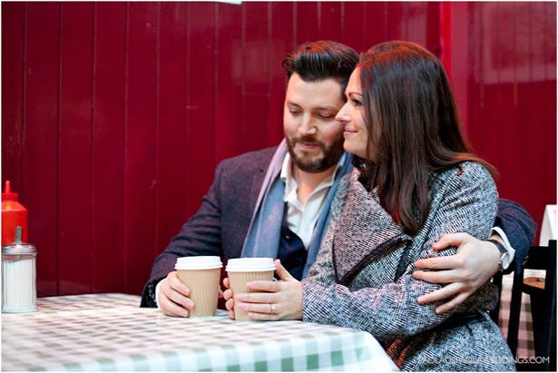 Kim and Dan's Real Engagement   Engagement shoot idea in London   Couple sharing a coffee  # London #Urban #Engaged #Engagement #Idea   Confetti.co.uk