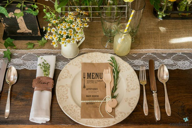 Rustic wedding table setting | Confetti.co.uk