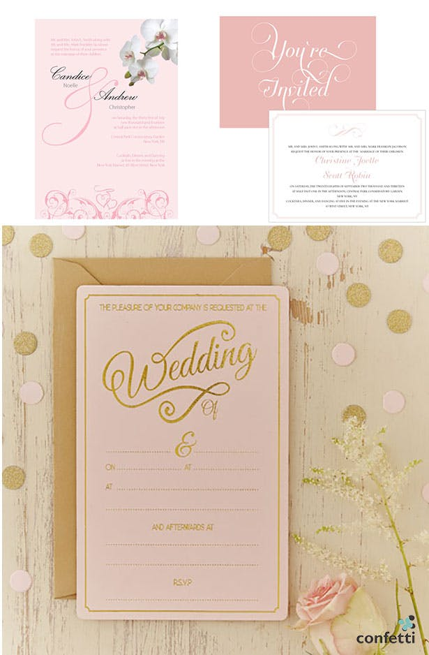 B;ush pink wedding invitations | Confetti.co.uk