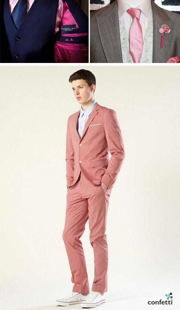 Blush pink groom attire | Blush pink wedding ideas | Confetti.co.uk
