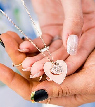 Crystal Double Swing Heart Necklace - Matte Rose Gold | Confetti.co.uk