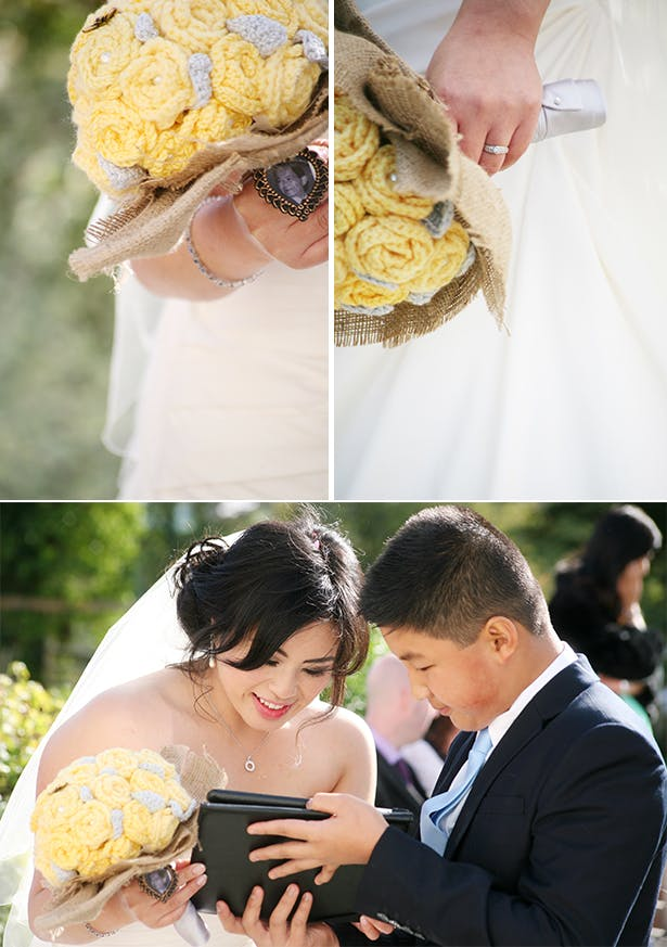 Yellow and grey woven wedding boutquet | Wedding bouquet alternative | Sophie & Chris's real wedding | Confetti.co.uk