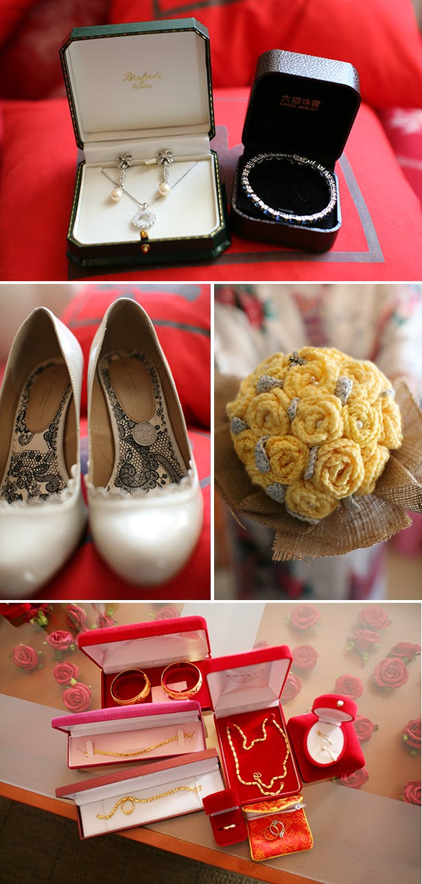 White and yellow bridal shoes and wedding shoes |  Sophie & Chris's real wedding | Confetti.co.uk