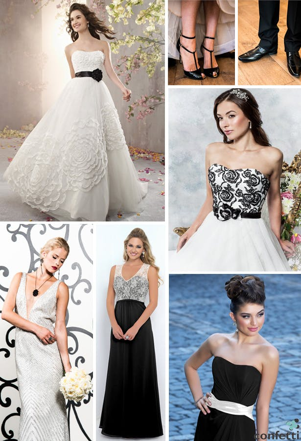 monochrome bridal gowns