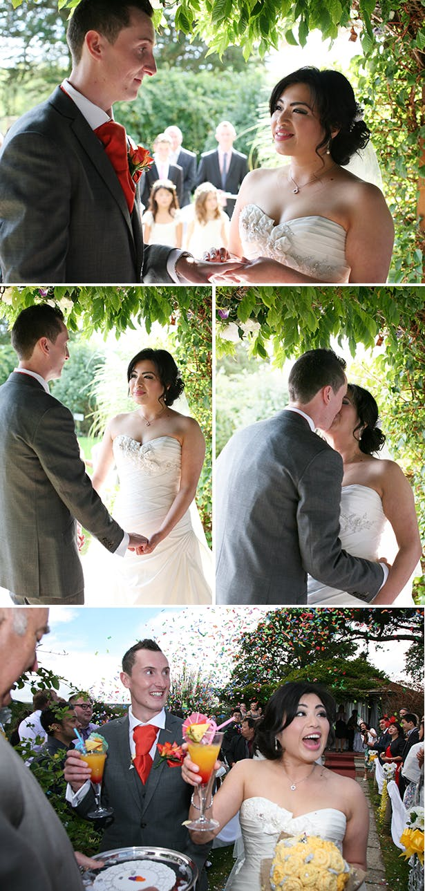 The first kiss as husband and wife | Sophie & Chris's real wedding | Confetti.co.uk