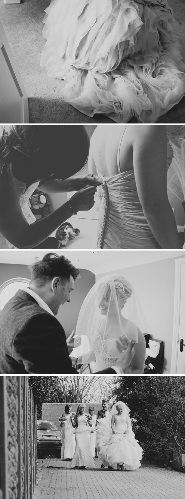 The bride getting ready for her ig day | Ian Stuart ruffed wedding dress |Georgina and Edward's real wedding | Confetti.co.uk