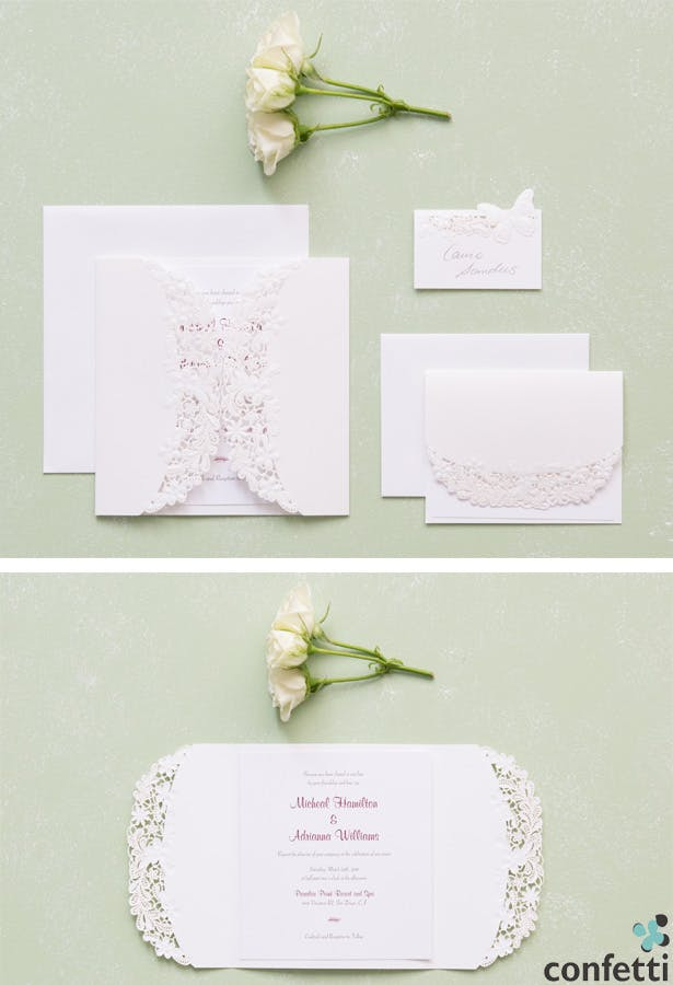 Floral Elegance Laser Embossed Invitations | Confetti.co.uk