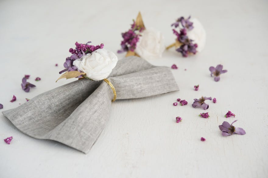 Lace Flower and Purple Florals DIY Napkin Rings | Confetti.co.uk