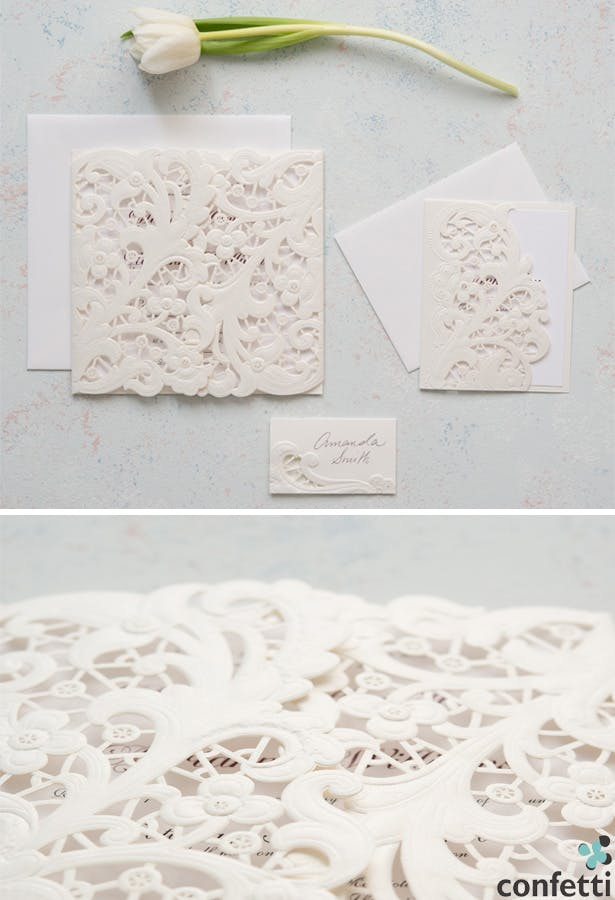 Vintage Lace Opulence Invitation | Confetti.co.uk