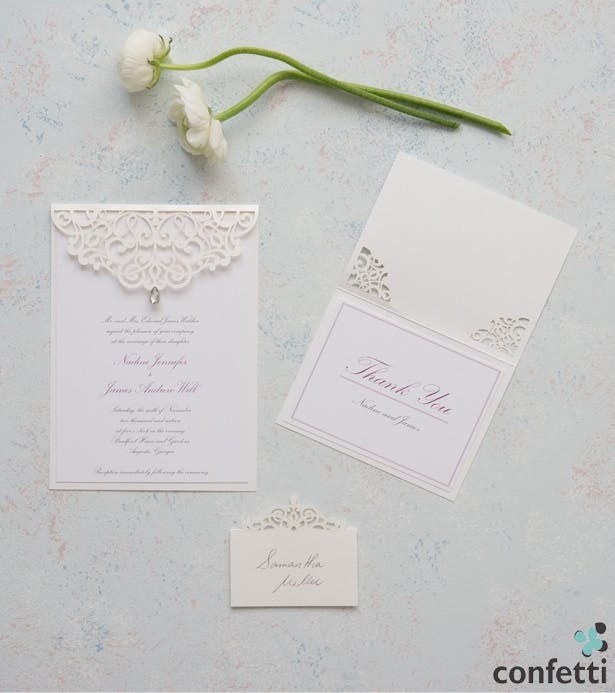 Pearl Romance Laser Embossed Invitations | Confetti.co.uk