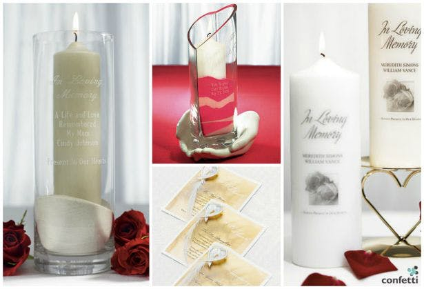 Memorial candles and vases| Confetti.co.uk
