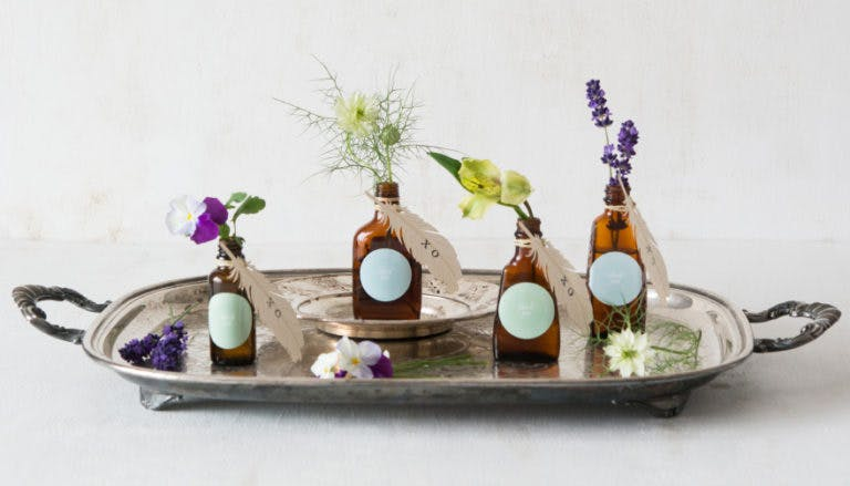 DIY Bohemian Beauties Mini Brown Bottle Favours | Confetti.co.uk