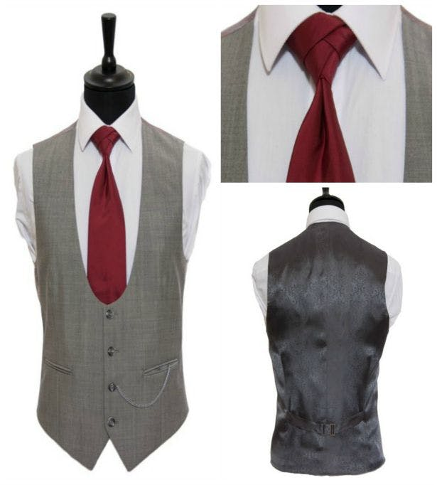Ascot grey waistcoat with rust red tie by Hugh Harris | Confetti.co.uk