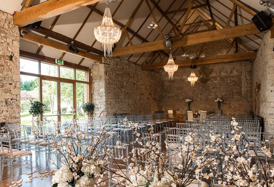 The Monks' Refectory at Notley Abbey Wedding Venue in Buckinghamshire - Bijou Wedding Venues - Country House Wedding Venue - Beautiful Wedding Aisle Inspiration | Confetti.co.uk