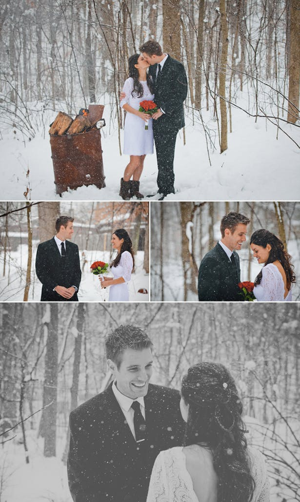 Bride and Groom in the Snow | Confetti.co.uk