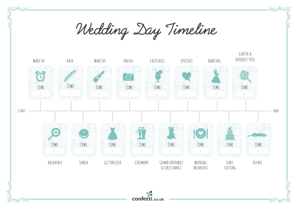 image regarding Printable Timelines referred to as Wedding ceremony Working day Timeline - Cost-free Printable Lead - .united kingdom