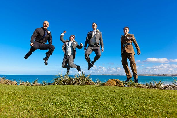 Groom and his groomsmen at his Carbis Bay Hotel wedding