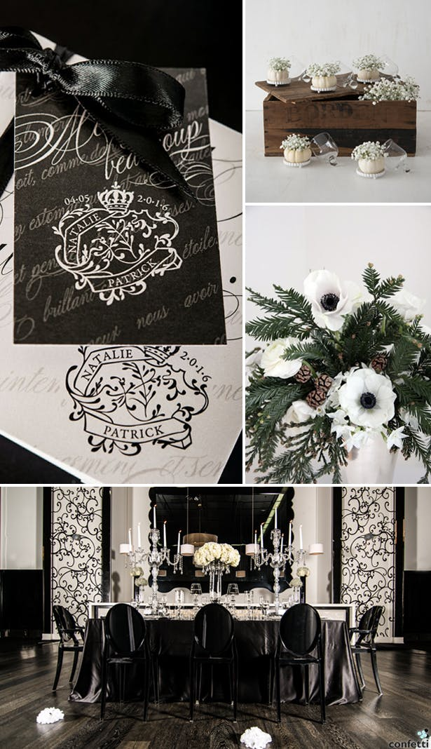 Black and White Winter Wedding | Confetti.co.uk
