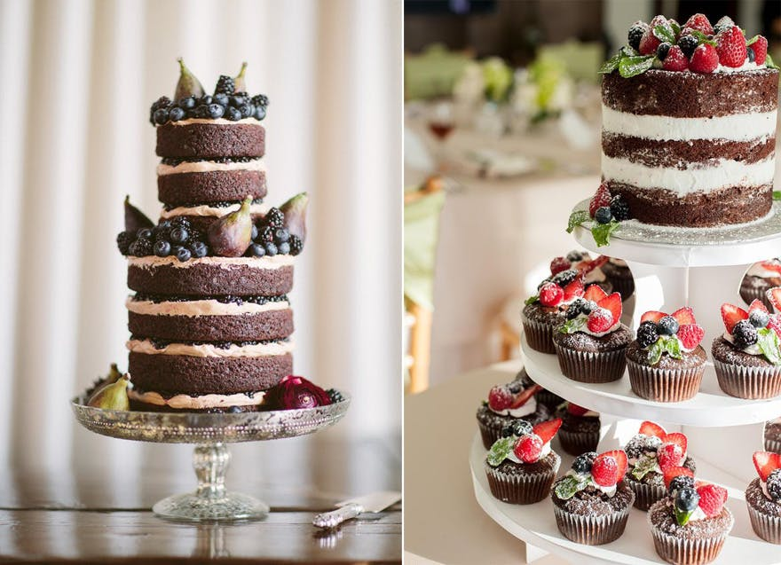 Naked Wedding Cake Cupcakes by A Cake Life - Chocolate Naked Wedding Cake by Lael Cakes - Photography from Allan Zepeda Photography via A Sleeping Beauty Inspired Wedding Shoot | Confetti.co.uk