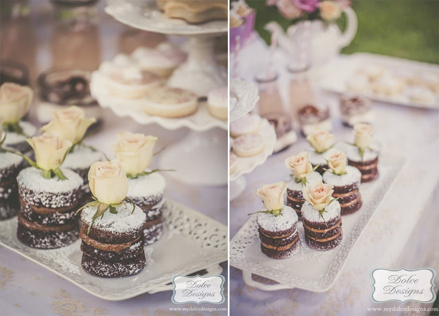 Shabby Chic Bridal Shower from Dolce Designs - Mini Naked Wedding Cakes - Miniature Chocolate Naked Cakes | Confetti.co.uk