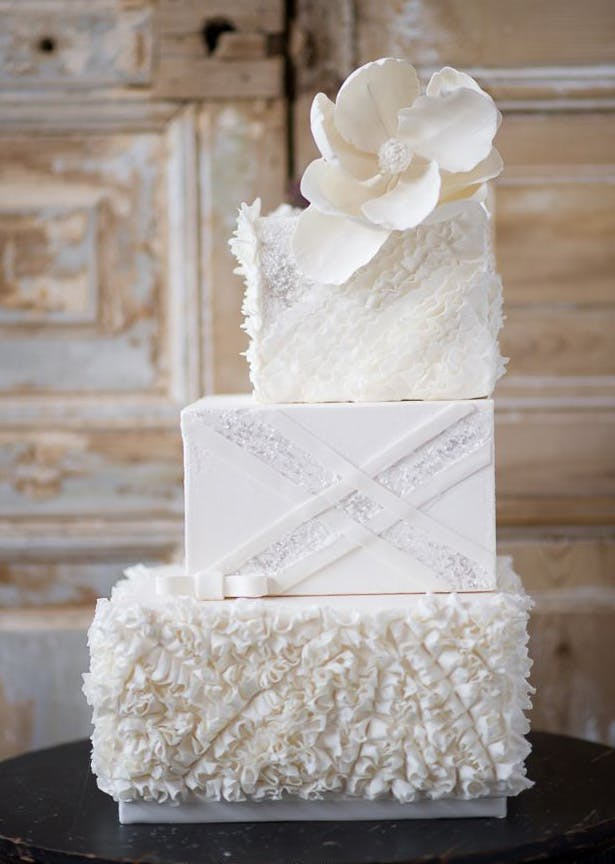White Textured Square Staircase Cake | Confetti.co.uk