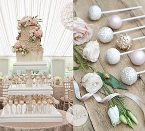 pink and rose gold wedding cake with cake pops