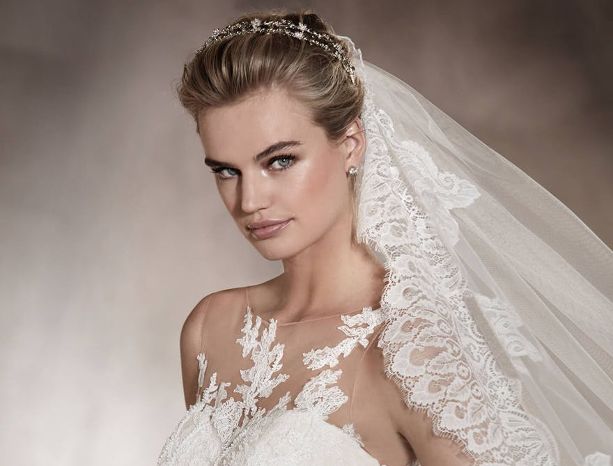 Angelica Sweetheart Neckline Wedding Dress with Sparkling Crystal Headband | Confetti.co.uk