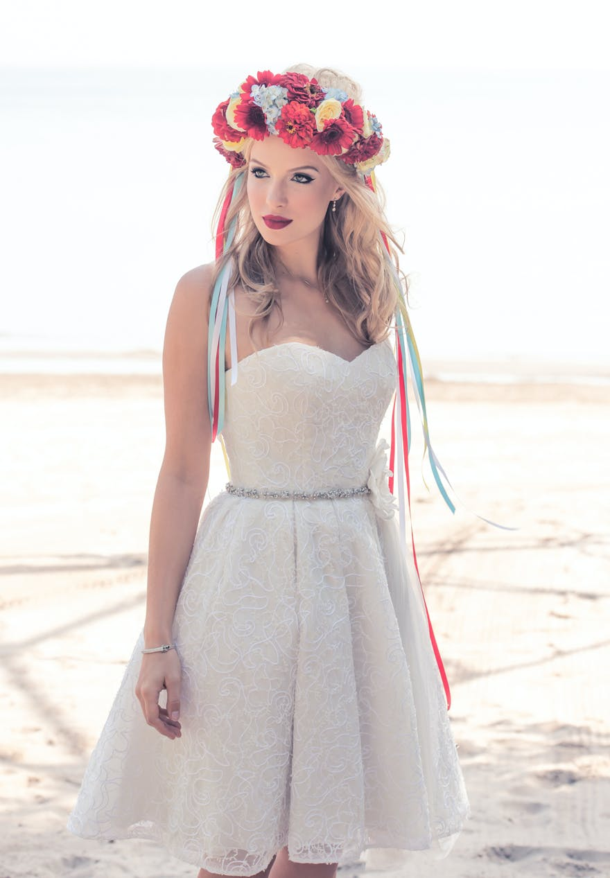 Flower Crowns Retro Bride with Colourful Red Yellow and Blue Flower Crown | Confetti.co.uk