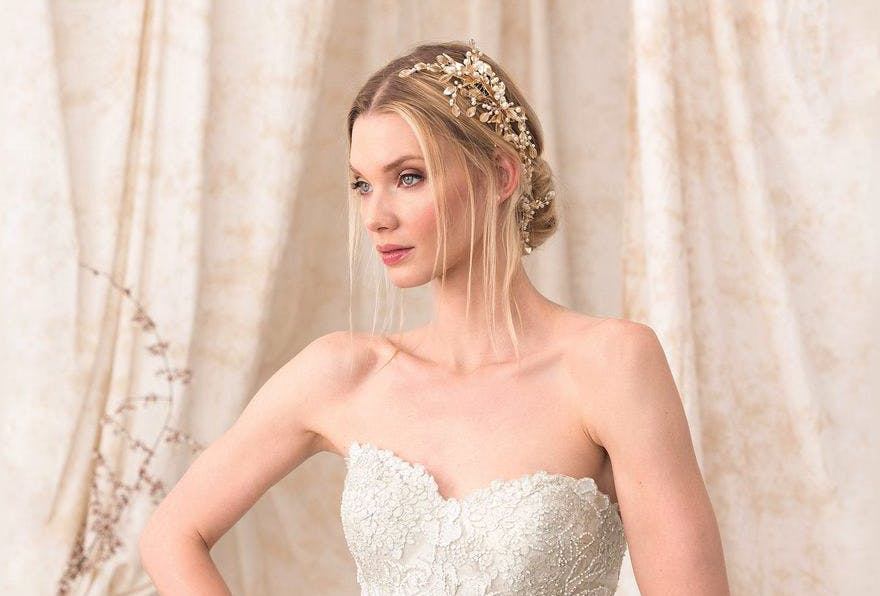 Gold and Pearls Wedding Headpiece - Style 9907 by Justin Alexander Embroidered Lace and Sequin A Line Dress | Confetti.co.uk