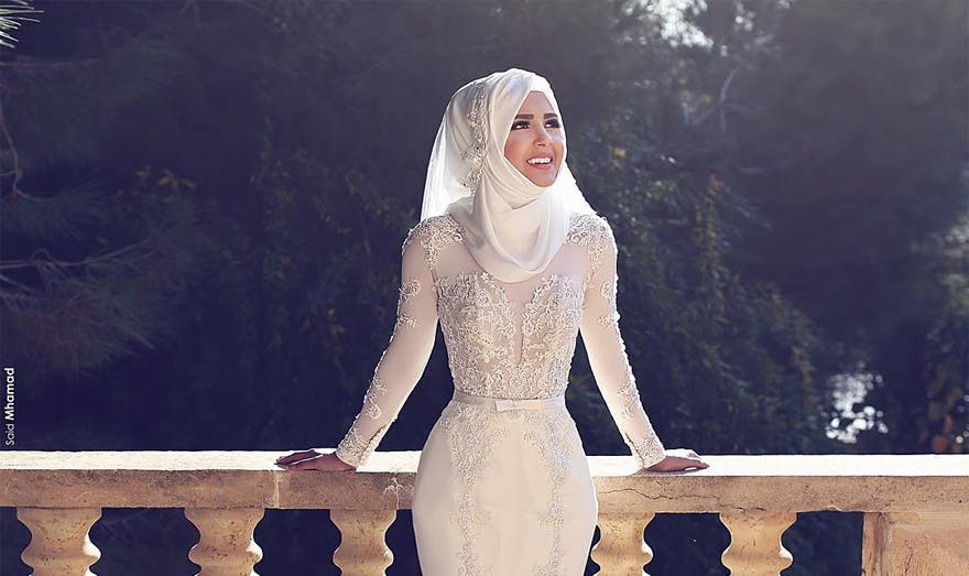 Long Sleeve Wedding Dress Hijab Bride Muslim Wedding Said Mhamad Photography | Confetti.co.uk